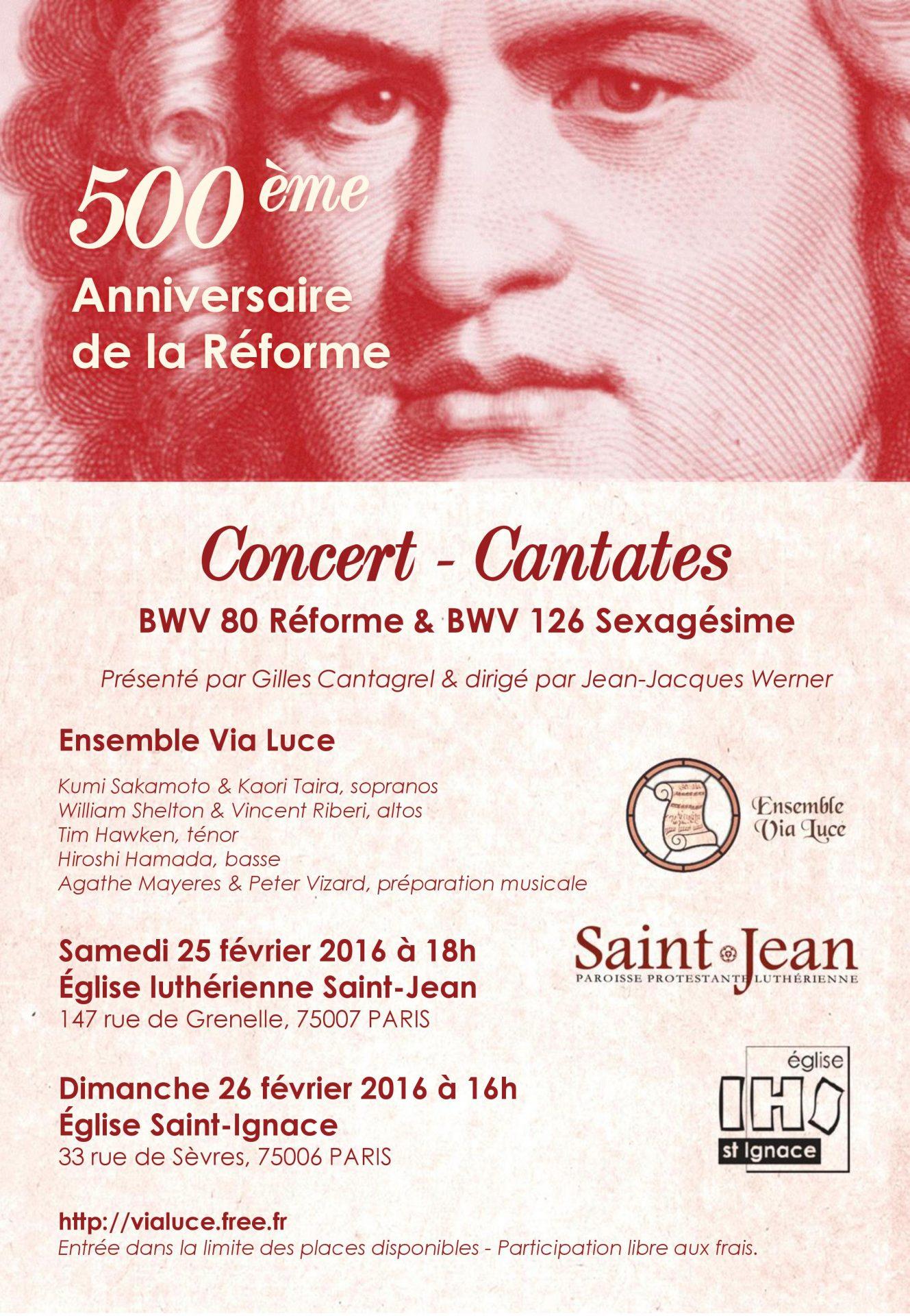 Concert Cantates Via Luce 25 février 2017